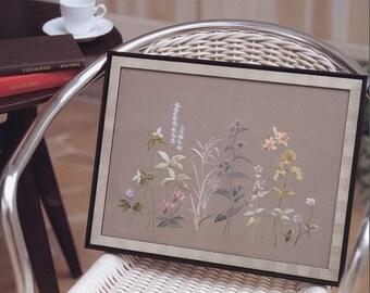 "JAPANESE EMBROIDERY PATTERN-""Wild Grass of Mountain""-Japanese Craft E-Book #508.Frame-Parasol-Motif-Cushion-Wastebasket-Postcard-Box."