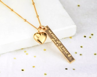 Valentines Vertical Bar Necklace Heart Personalized necklace, nameplate Necklace, Custom bar necklace, personalized rose gold bar necklace