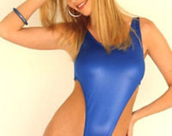 Blue wet look leotard suit with thong rear