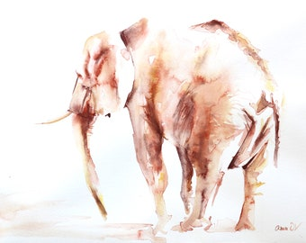 Lone Elephant ORIGINAL WATERCOLOUR painting