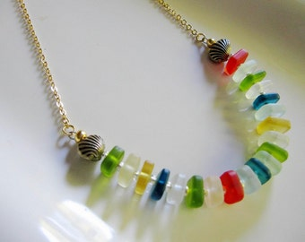 Colorful Seaglass Necklace, Rainbow colors, Silver Shells, blue, frosted glass, beach jewelry, beach necklace, redpeonycreations