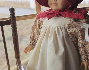 Old-Fashioned Pioneer Dress, Pinafore, Pantaloons and Bonnet for Dolls -Ready to Ship