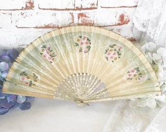Lovely Antique Paper Ladies' Hand Held Fan, Victorian Floral Opera Folding Fan, Hand Painted Pink rose Romantic, Shabby Chic, Edwardian