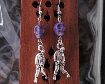 Purple skulls and Zombies Earring Set - Item Number 5451