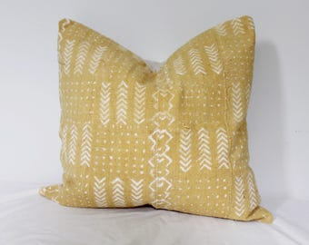 Vintage mustard yellow mudcloth pillow cover