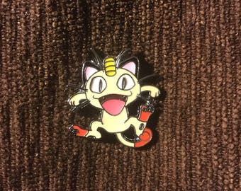 pokemon meowth hat pin