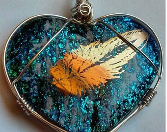 Cremation Jewelry Dichroic Heart 14k Gold Feather Ashes InFused Glass Memorial Pendant Pet