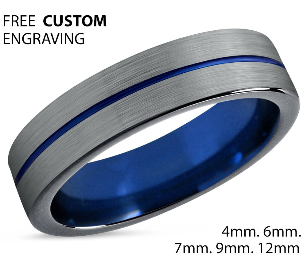 Mens Wedding Band Blue Silver Wedding Ring Tungsten Ring 6mm