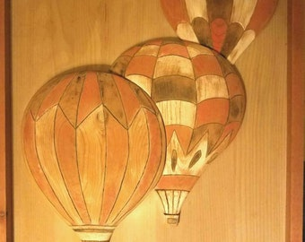Hand Carved Hot Air Balloons Over the City Wall Hanging Piece