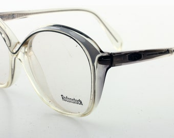 Rodentsock vintage rounded oversize eyeglasses 1980. Clear / grey cello frame.