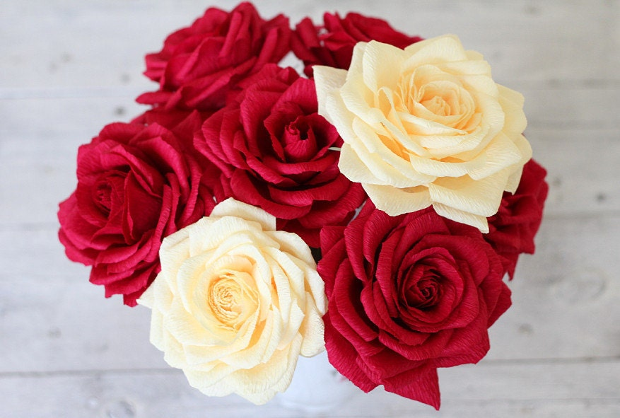 5 roses paper roses bouquet paper flower big roses cream zoom mightylinksfo