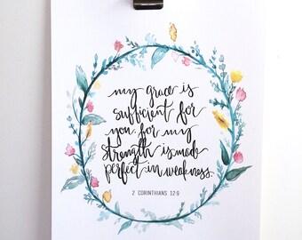 2 Corinthians 12:9 Hand Lettered Art Print