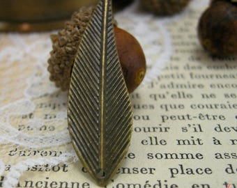 set of 4 wings feather pendants: metal bronze earrings