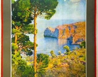 Vintage Mallorca Spain For Sunshine Tourism  Poster A3 Print
