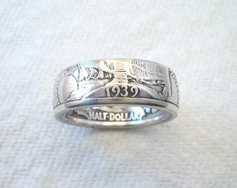 Sizes 8 - 14 Coin Ring, Walking Liberty Silver Half Dollar, Polished Finish. Place Your Custom Order Here