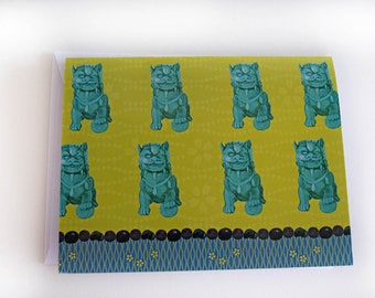 Foo Dog Note Cards - Chinoiserie
