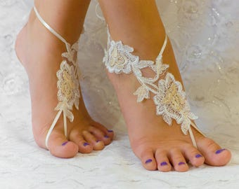 Barefoot Sandals Lace, Beach Wedding Shoes, Wedding Lace Shoes, Bridesmade  Gift, Beach