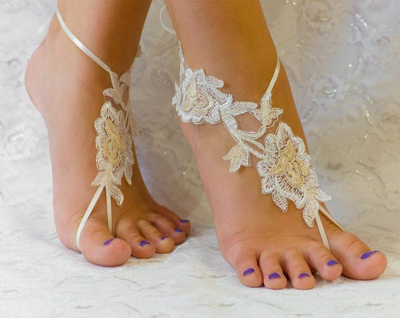 Barefoot Sandals Lace, Beach wedding shoes, wedding lace shoes, bridesmade gift, beach shoes 10