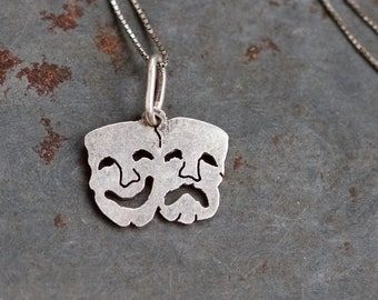 Drama Time Necklace - Tiny Theater masks Sterling Silver Pendant and chain - Vintage Oxidized Jewelry