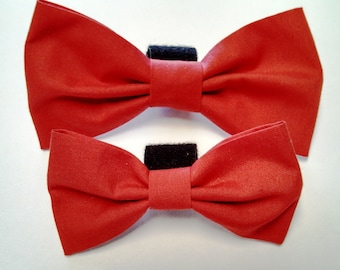 Solid Red, Blue, Black or Pink - Bow Tie or Flower