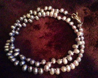 Light Blue Pearl Necklace