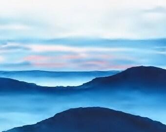 Meditation Art, Yoga Art Watercolor Print, Yoga Artwork, Yoga Print, Yoga Painting Poster, Watercolor Painting Zen Print Art,Blue Art Sunset