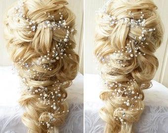 """FREE SHIPPING Love Long hair vine Size 4""""- 80"""" Bridal hair vine Crystals hair vine Bridal Hair piece Wedding hair accessories Wedding tiara"""