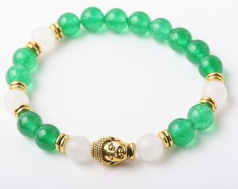 Buddha Bracelet, Jade Bracelet, Buddha bracelet, Green stone bracelet, stretch bracelet, Healing Bracelet, Energy Bracelet, jade jewelry