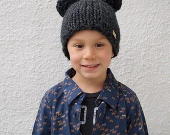 Chunky Knit Infant, Toddler & Child Double Pom Pom Hat || Knit Bear Pom Pom Beanie ||  Knit Bear Ears Hat + You Choose the Color