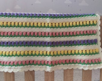 Flowers in a Row Baby Blanket