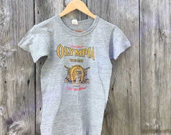 Olympia Beer Washington Rayon Shirt 80s Medium M