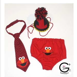 Sesame Street Elmo 1st Birthday Outfit Smash Cake Party Outfit Bow Tie Baby Toddler Boys Onesie Bottoms