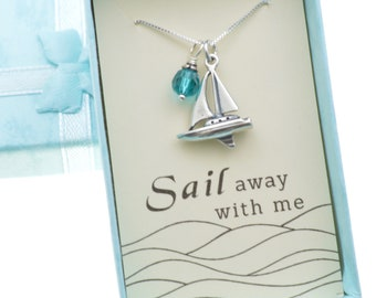 """Sail Away With Me  necklace in sterling silver on an 18"""" sterling silver box chain.  Sailing necklace.  Sailing gift.  Sailing Jewelry."""