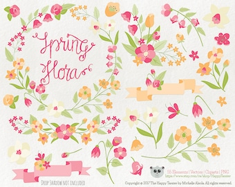 Flowers Clipart Spring Flora 6 Vector Graphics, Flower Clipart, Floral Clipart, PNG, Clip Art, Orange, Pink