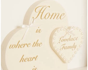Home gift, 2 in 1 heart, personalised, family gift, occasion gift, wooden, family name, mum, dad.