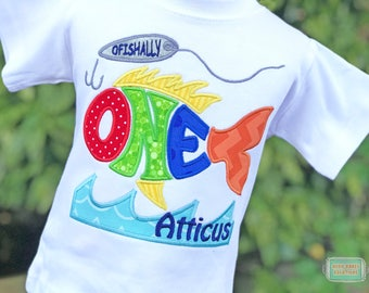 Fishing Party Shirt - First Birthday Shirt - Boys Fishing Shirt - Ofishally One - Fishing Lure Shirt - Personalized Boys Birthday Shirt