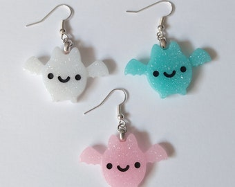 Happy Glitter Bat Earrings - Kawaii Jewelry Fairy Kei Jewelry Pastel Goth Jewelry Creepy Cute Bat Jewelry Harjuku Fashion Decora Kei Gyaru