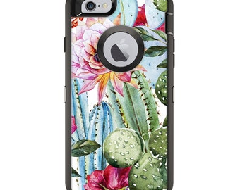 The Vintage Watercolor Cactus Bloom Otterbox Case Skin Set Apple iPhone X - 7/8 - 6/6s - 5/5s/SE - 6/6s Plus and Others