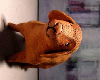 Small Orange Dog / Unique Animal Ceramic Sculpture