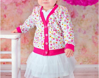 V-Neck Cardigan Pattern: Boys Cardigan Sewing Pattern, Girls Cardigan Sewing Pattern, Baby Cardigan Sewing Pattern
