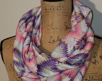 Beautiful pastel pink and purple Aztec tribal soft infinity scarf