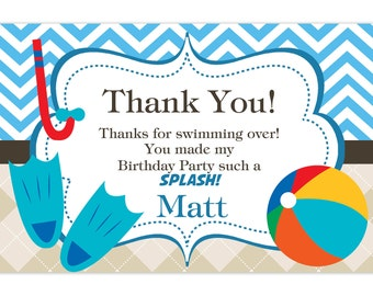 Pool Party Thank You Card - Blue Chevron and Tan Argyle Beach Ball Personalized Birthday Party Thank You - a Digital Printable File