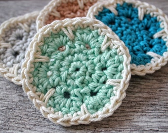 Crochet Flower Face Scrubby Set of 4 - Reusable Cotton Face Scrubbies in Beach Colors - Light Blue, Aqua, Tan and Turquoise