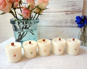 Soy Votive Candle with wood wick, Scented Candle, Ginger Peach