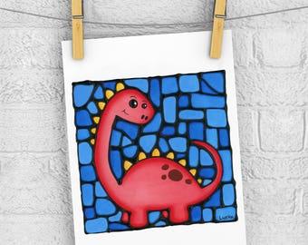 Red Dinosaur 5 x 7 Print - Discontinued - 50% OFF - Nursery Art Print - Baby Room Wall Hanging - Cute Stegosaurus Dino Print - Boy Room Art