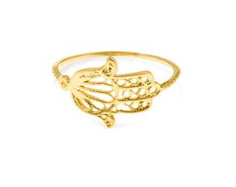 Hamsa Ring, Hamsa Hand Ring,Hand Of Fatima Ring, Evil Eye Ring, Boho Ring, Bohemian Ring, 14k Gold Ring For Girlfriend, Gold Ring For Women