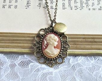 Victorian Coral Cameo and Vintage Locket Necklace