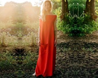Red linen dress, unique dress, natural loose fit maxi dress, organic summer long simple dress, bohemian ritual kaftan ~Kshama~