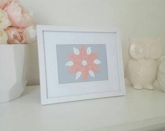 Framed Handmade Wall Art - Crochet Flower - White Frame