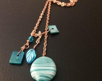 Unique - Blue bead lariat knot necklace